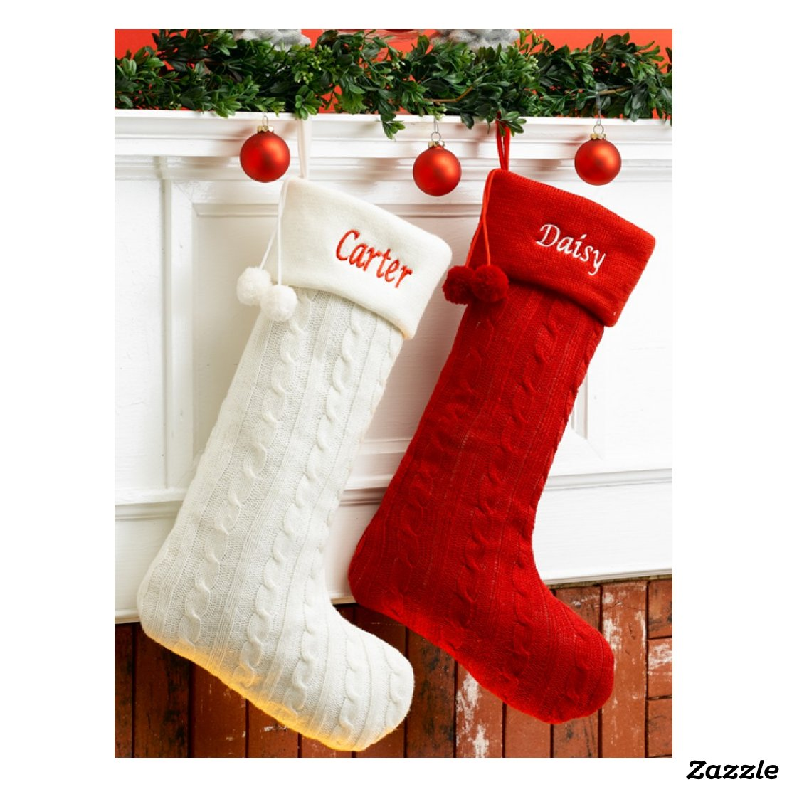 Charming White Cable-Knit Christmas Stocking