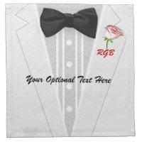 Charming White Tuxedo Monogram with Rose Napkin