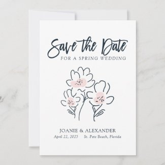 Charming Wildflowers White Wedding Save The Date