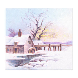 Charming Winter Scene 3 Stretched Canvas Prints