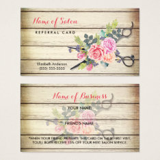 Charming Wood Scissors And Roses Referral Card at Zazzle