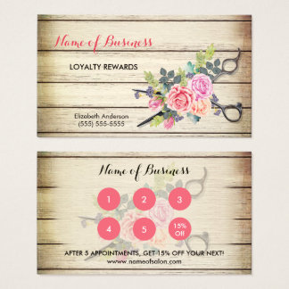 Charming Wood Scissors and Roses Salon Loyalty III Business Card