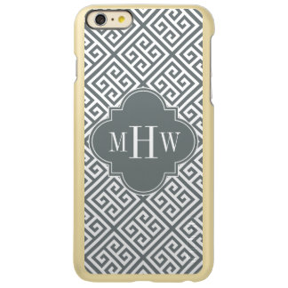 Charoal Wt Med Greek Key Diag T Char Name Monogram Incipio Feather® Shine iPhone 6 Plus Case