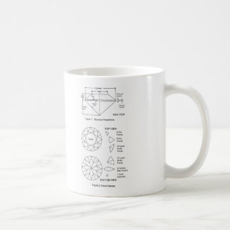 Chart of Diamond Cut Facets Proportions & Names Classic White Coffee Mug