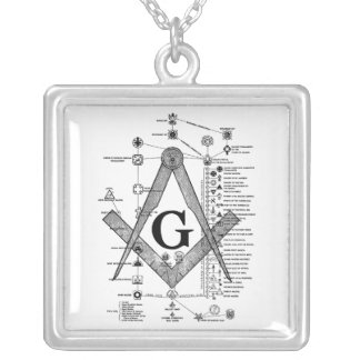 Chart of Masonic Degrees Silver Plated Necklace
