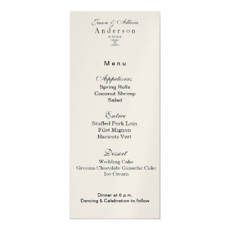 Chart of menu of gold gleaming for marriage card