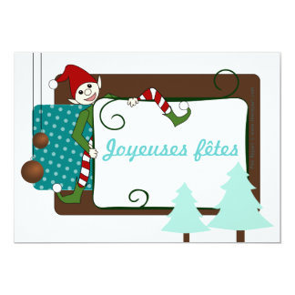 Chart of merry festivals funny imp and fir tree card