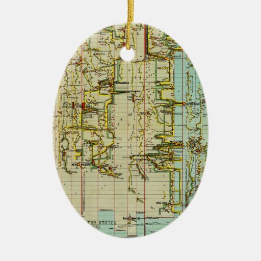 Chart of the History of the Civil War (1897).jpg Double-Sided Oval Ceramic Christmas Ornament