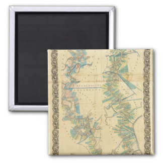 Chart of The Lower Mississippi River 2 Inch Square Magnet
