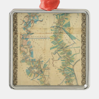 Chart of The Lower Mississippi River Square Metal Christmas Ornament