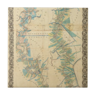Chart of The Lower Mississippi River Small Square Tile