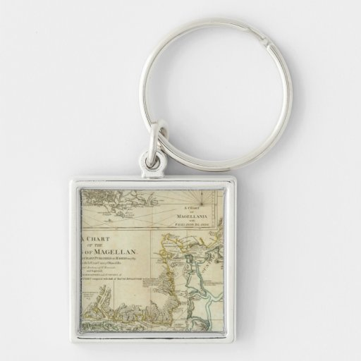 Chart Of The Straits Of Magellan Keychains