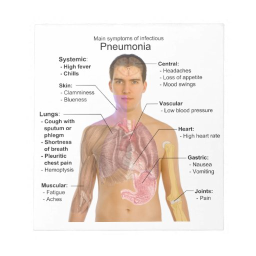 Chart of the Symptoms of Pneumonia Notepad