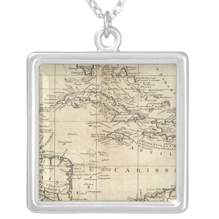 Chart of the West Indies 2 Silver Plated Necklace