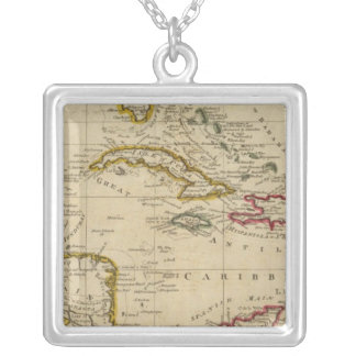 Chart of the West Indies 3 Silver Plated Necklace