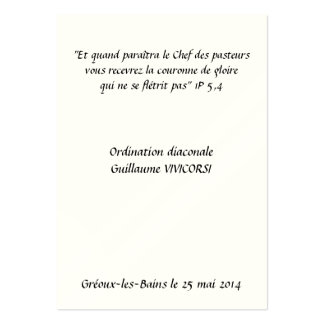 Chart Ordination Diaconate Large Business Card