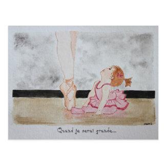 chart watercolour dancer baby dreams little girl postcard