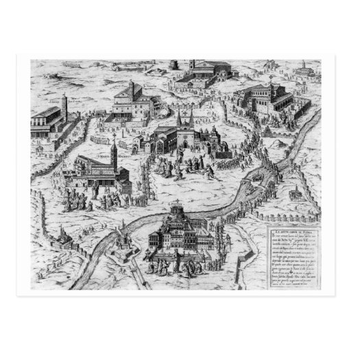 Charta Postalis Indulgentiae 7 Ecclesiarum Urbis Tarjetas Postales