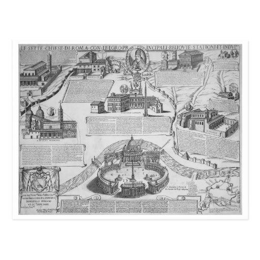 Charta Postalis Indulgentiae VII Ecclesiarum Urbis Tarjetas Postales