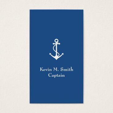 Wedding Themed Charter Boat Captain Blue and White Anchor Business Card