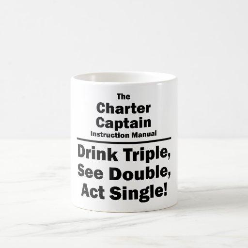 charter captain classic white coffee mug