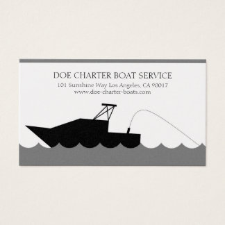 Charter Deep Sea Fishing Boat Gold Paper Business Card