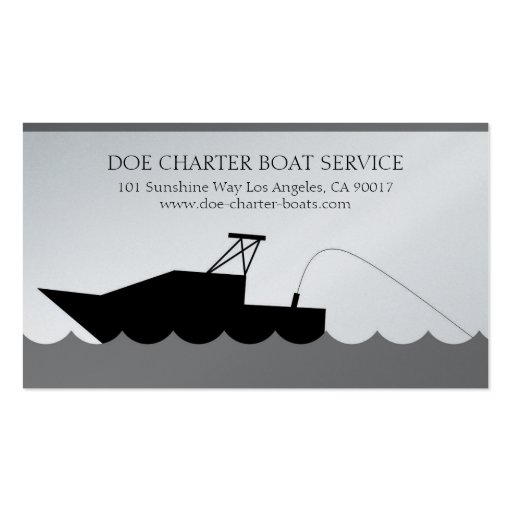 deep sea fishing boat platinum paper business card on