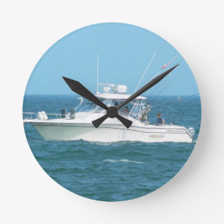 Charter Fishing Boat Round Clock