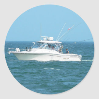 Charter Fishing Boat Classic Round Sticker