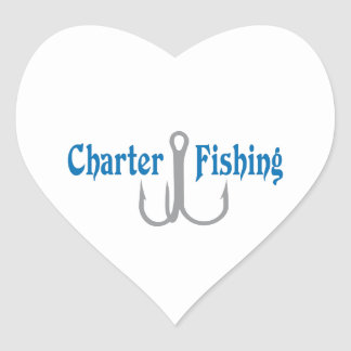 Charter Fishing Heart Sticker