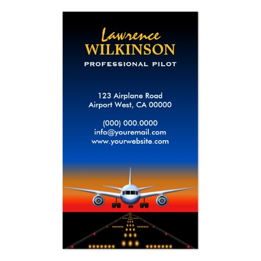 Charter Flights Professional Pilot Business Cards