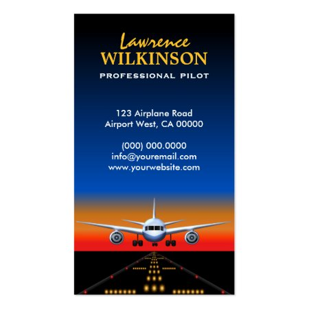 Airport Airstrip Lights Plane Landing at Night Aviation Business Cards