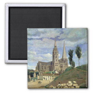 Chartres Cathedral, 1830 2 Inch Square Magnet