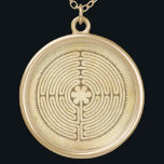 """Chartres Labyrinth antique style 1   your ideas Gold Plated Necklace<br><div class=""""desc"""">Spiritual Symbol Design by EDDA Fröhlich / EDDArt   Labyrinth is a system of lines or paths, which makes numerous changes of direction or pacing a runner-up of the pattern to a puzzle. Labyrinth has only one way to the center, while several mazes..   For other designs & products feel...</div>"""