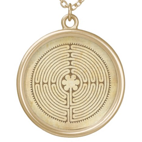 Chartres Labyrinth antique style 1 + your ideas Gold Plated Necklace