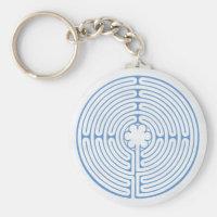 Chartres Labyrinth Blue Keychain