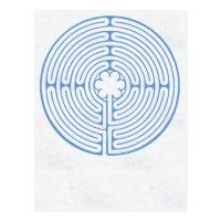 Chartres Labyrinth Blue Postcard