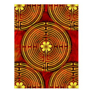 Chartres Labyrinth Fire Postcard