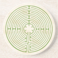 Chartres Labyrinth Green Drink Coaster