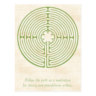 Chartres Labyrinth Green Postcard
