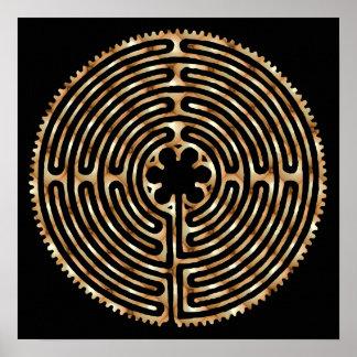 Chartres Labyrinth Pearl Dark Paths Print