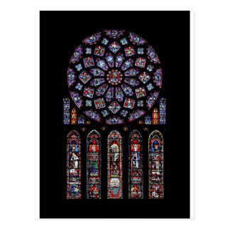CHARTRES VI STAINED GLASS POSTCARD