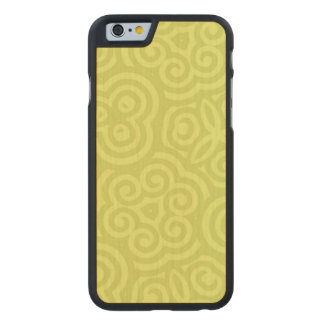Chartreuse abstract pattern carved maple iPhone 6 case