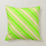 [ Thumbnail: Chartreuse and Beige Lined/Striped Pattern Pillow ]