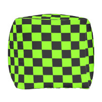 Chartreuse and Black Checkered Outdoor Pouf