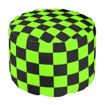 Chartreuse and Black Checkered Pouf