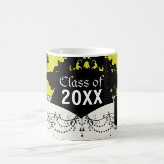chartreuse and black elegant damask graduation mugs