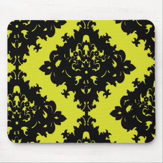 chartreuse and black elegant diamond damask design mouse pad