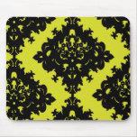 chartreuse and black elegant diamond damask design mousepad