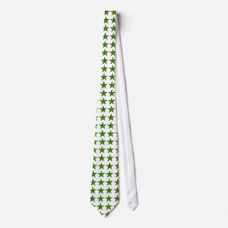Chartreuse and Black Nautical Stars on White Tie